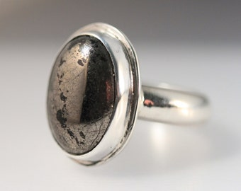 Sterling Silver Bezel Set Pyrite Ring
