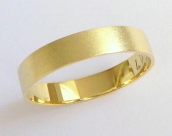 Gold wedding ring men's wedding band women's wedding ring promise ring 14k gold 4mm