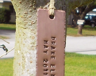 Tree Tags, Personalized Tree Markers, Copper, Custom Hand Stamped,Label for Trees, Gardener Gift, Tree Labeling, Dad gift, Mom gift, Garden