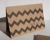 Chevron Thank You Cards - Black Chevron Kraft Stationery, Chevron Thank You Notes, Modern Geometric Tribal Earthy Rustic Thank You Card Set - twin2kim