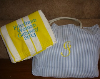 Bridesmaid Gift Personalized Beach Bag and Beach Towel in many colors for Bridesmaids Gifts