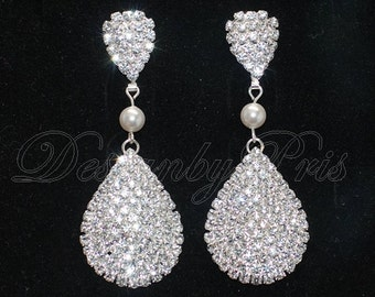 SALE - Bridal Earrings Wedding Earrings Bridal Accessories Rhinestones and Swarovski White Pearl Earrings - Bridal Earrings.Jewelry