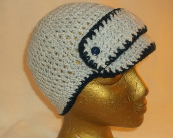 Adult Billed Cap, Gray and Navy, Front Band