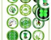 ST. PATRICK'S DAY 2 InCH CiRCLES Bottle Cap Size for Cupcake, Badges, Buttons, Scrapbook, Craft, Jewelry DIGiTAL CoLLAGE SHeeT