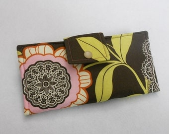 Amy Butler Wallet, Handmade Wallet, Womens Bifold Clutch, Pink and Brown Floral Wallet, Made in USA