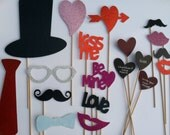 Valentine's Day Photo Booth Prop Set - 16 piece assembled prop set