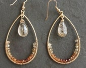 Ophelia Custom Order for Patty. Gold Rutilated Quartz Gold Ombre Sapphires Teardrop Hoops