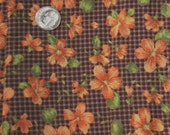 Floral Fabric - Orange Flowers on Brown Checkerboard Background