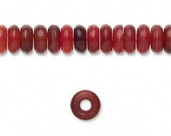 16 inch strand of Red Horn 8mm rondell beads