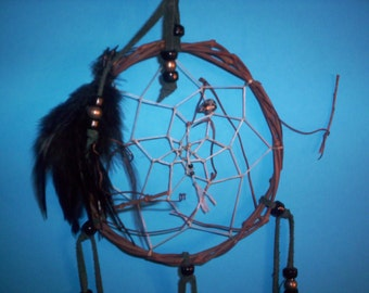Native American inspired Dream Catcher 5-101, Chicken Feathers,  Glass/Metal Beads, Grapevine, Snowflake Obsidian Bear