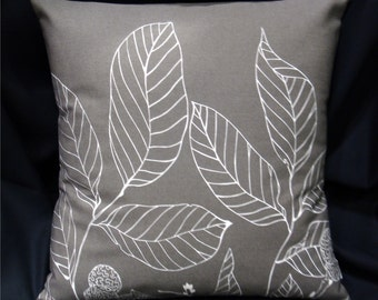 "Contemporary Pillow Cover - Scandinavian Leaves Taupe Grey and White - for 18"" x 18"" inch insert"