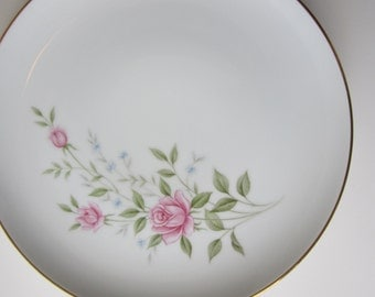 Vintage Fine China Japan Roseanne Pink Green Dinner Plates Set of Four