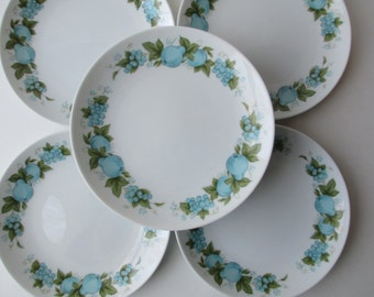 Vintage Noritake Blue Orchard Bread and Butter Plate Set of Seven
