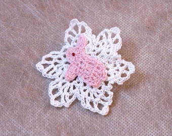 Pink Bunny Rabbit Crochet Brooch, Lace Jewelry, Girls Pin, Woodland Inspired, Easter Gift
