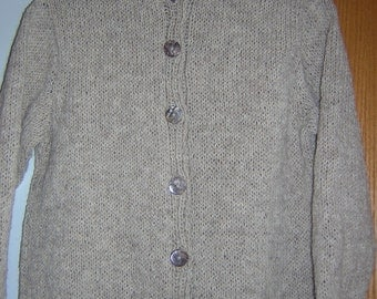 Hand Knitted Wool Misses Crew Neck Button Cardigan