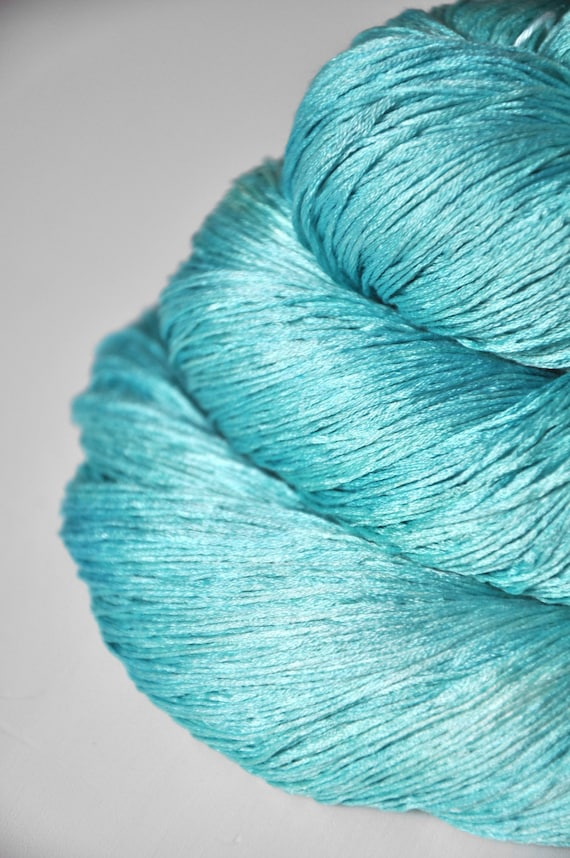 Lace Weight Yarn : Breakfast at Tiffanys OOAK Silk Yarn Lace weight by DyeForYarn