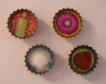 SALE - Elements Magnets - Set of Four Resin Bottle Caps