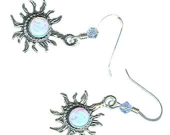 sterling silver lab grown opal sapphire blue fiery sun charm earrings
