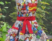 Reserved for Cedar - Marvel Comic Action Heros Apron-Vintage- Full of Twirl Flounce