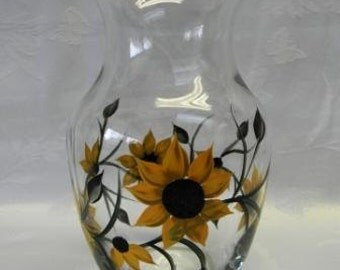 Hand painted vase-Sunflowers