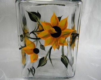 Cookie Jar-hand painted canister-painted Sunflower-hand painted storage jar