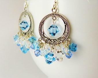 Sterling Silver Hoop Earrings / Aqua Blue  Swarovski Crystal / Handmade Artisan Earrings
