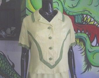 Exquisite Vintage 1950's Women's Dress & Short Sleeve Jacket -Alix of Miami- Pan Am Travelers -Size 14 Medium -Muted Lemon Lime -60's- Linen