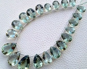 HUGE, Brand New, Full 15 Inch,Superb,21 Huge Pear, aaa Quality, GREEN AMETHYST Faceted Cut Stone Pear Shaped Briolettes, 12-20mm Long size.