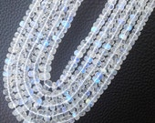 15 Inch Strand,Superb,Amazing Rare Quality BLUE Flashy RAINBOW Moonstone Faceted Rondelles,5-7mm,Amazing Rare Quality