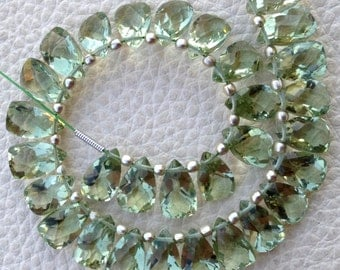 Brand New, Full 6 Inch Strand, GREEN AMETHYST Faceted Pyramid Shape Briolettes,10x6mm size,Superb Item at Low Price