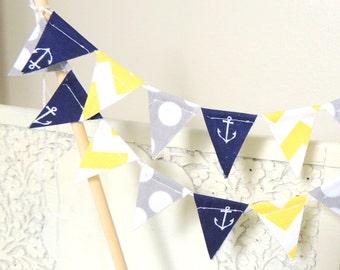 Cake Topper Banner, Party Mini Cake Bunting, Navy Anchors, Yellow Chevron, Grey Polka Dot, Birthday Party, Wedding, Baby Shower, Birthday