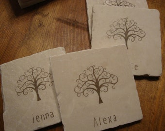 Personalized Tree Coasters Family Reunion Whimsical Customized Travertine Coaster Set of 4 Stone Tile Save the Date Keepsake Absorbent Drink