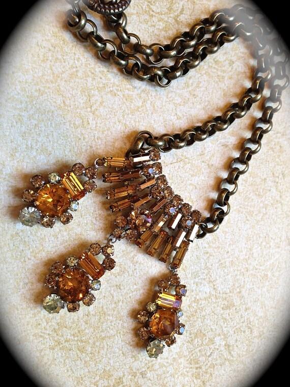 Amber statement necklace- vintage jewelry dangle necklace- Vintage Orange Bridal Necklace Choker, Mid Century Bridal Rhinestone Jewelry