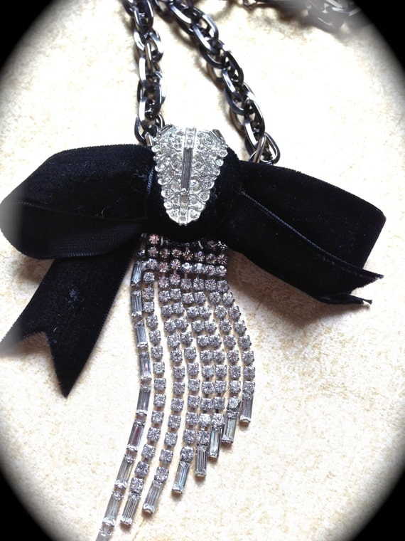 SALE Black tie Classic inspired vintage bow necklace- Black Tie Necklace- Handmade Jewelry- Art Deco Necklace- Assemblage Jewelry Necklace