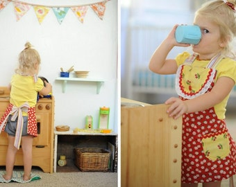Little Girls Apron full Reversible Toddler Apron Pick Your Colors