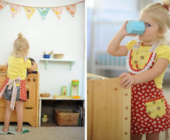 Little Girls Apron full Reversible Toddler Apron Pick Your Colors