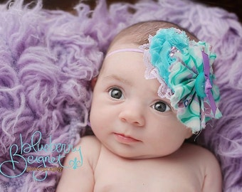 Everly- aqua and lavender ruffle and chiffon flower headband with lace