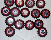 Nightmare Before Christmas Jack & Sally Cupcake Toppers,Halloween, Party Favor, Cake Topper, Birthday