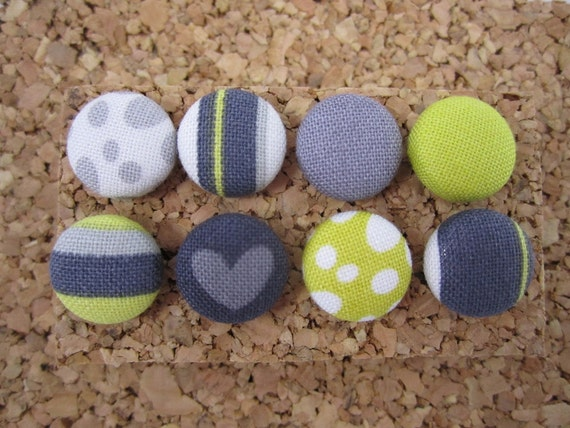 Fabric Cover Button Pushpin Thumbtacks - Black Grey and Citron - Set of 8