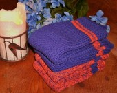 Four Large Purple and Orange Pre- shrunk 100 percent cotton machine knit dish cloths...11 inches X 12 inches