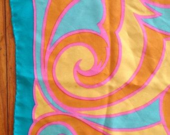 Orange Silk Scarf Italy Peck & Peck Aqua Yellow Pink Square Italian 1960s Vintage