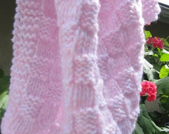 Knit baby blanket Mini sized (pink and white)