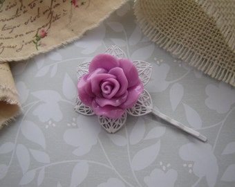 Lavender Rose . bobby pin . girls hair accessory . resin floral cabochon . filigree