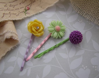 Spring Romance . bobby pins . girls hair accessory . yellow lavender mint green pink . floral