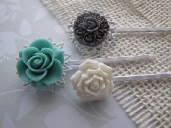 Winter Garden . bobby pins . girls hair accessory . floral filigree . charcoal teal white