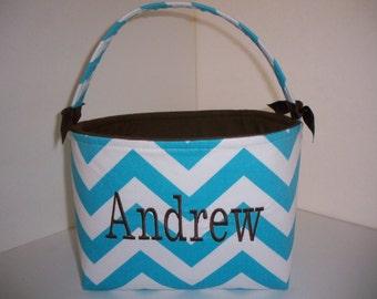 Chervon / Zig Zag Aqua White Fabric Basket / Small Diaper Caddy - Personalization Available