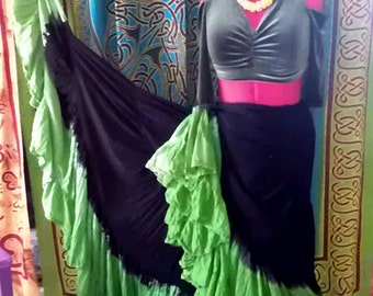 25yd Hand Dyed Jet Black/ Kelly/Lime Green mix skirt