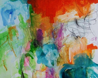Shadow Boxer- Mixed Media Original-11x15- Colorful, Bright Abstraction