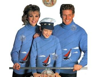 Vintage Sailboat Turtleneck Sweater Jumper English Knitting Pattern - Women Men Children - PDF Instant Download - PrettyPatternsPlease