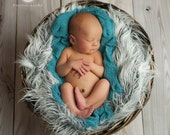Frost Gray Faux Fur Blanket with White Tips, Newborn Props, Frost Gray Mongolian Fur, Baby Boy or Girl Mongolian Fur, Newborn photo prop
